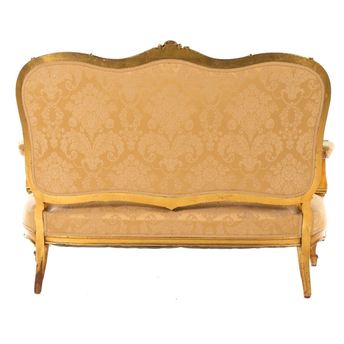 Louis XV style carved giltwood parlor suite - 9