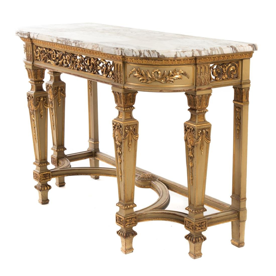 Louis XIV style painted parcel-gilt console table