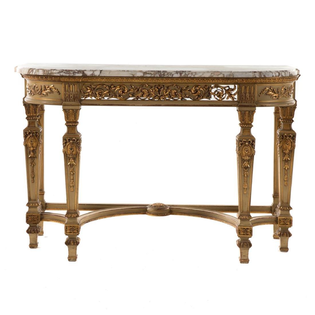 Louis XIV style painted parcel-gilt console table - 2
