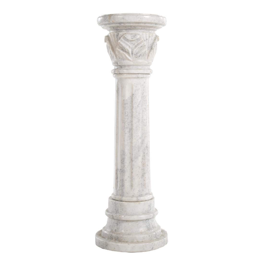 Contemporary carved white marble columnar pedestal