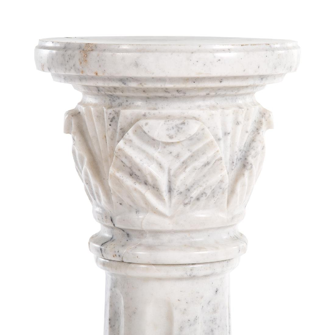 Contemporary carved white marble columnar pedestal - 2
