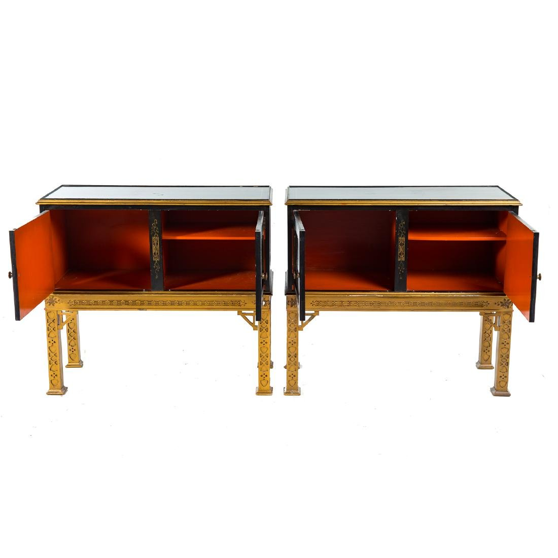 Pair Chinese Chippendale style side cabinets - 6