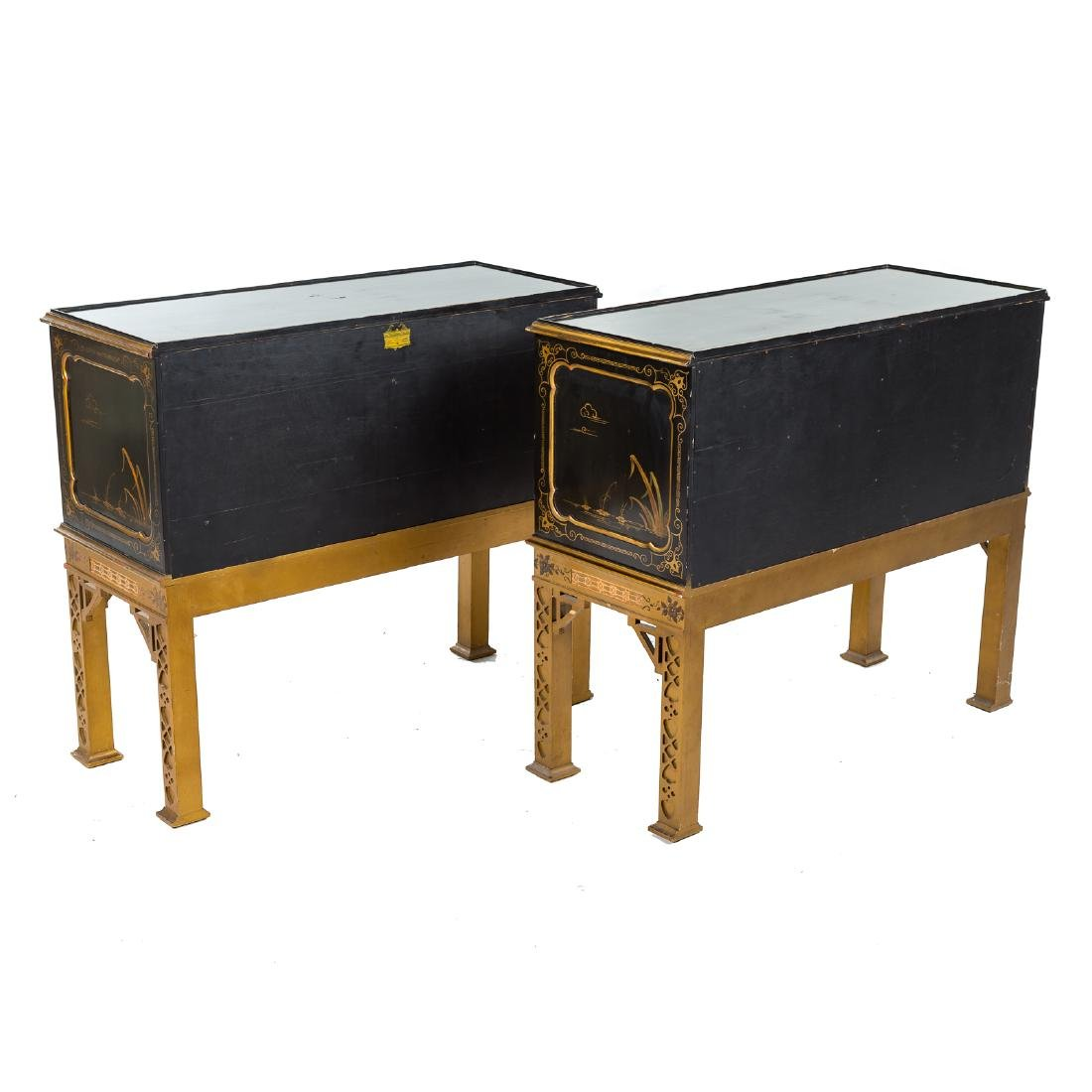 Pair Chinese Chippendale style side cabinets - 7