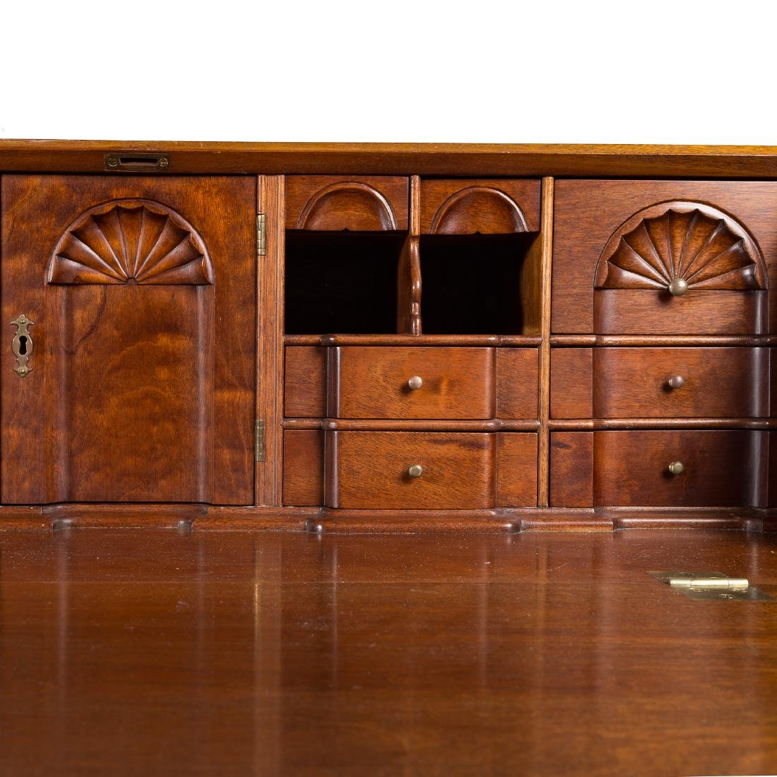 Cabinet made Chippendale style mahogany desk - 4