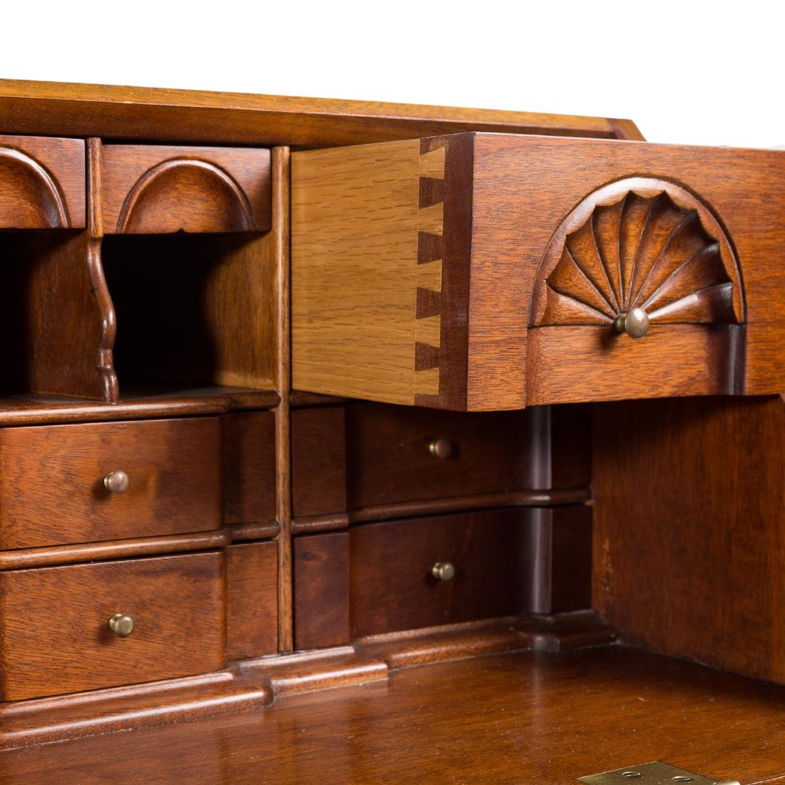 Cabinet made Chippendale style mahogany desk - 5