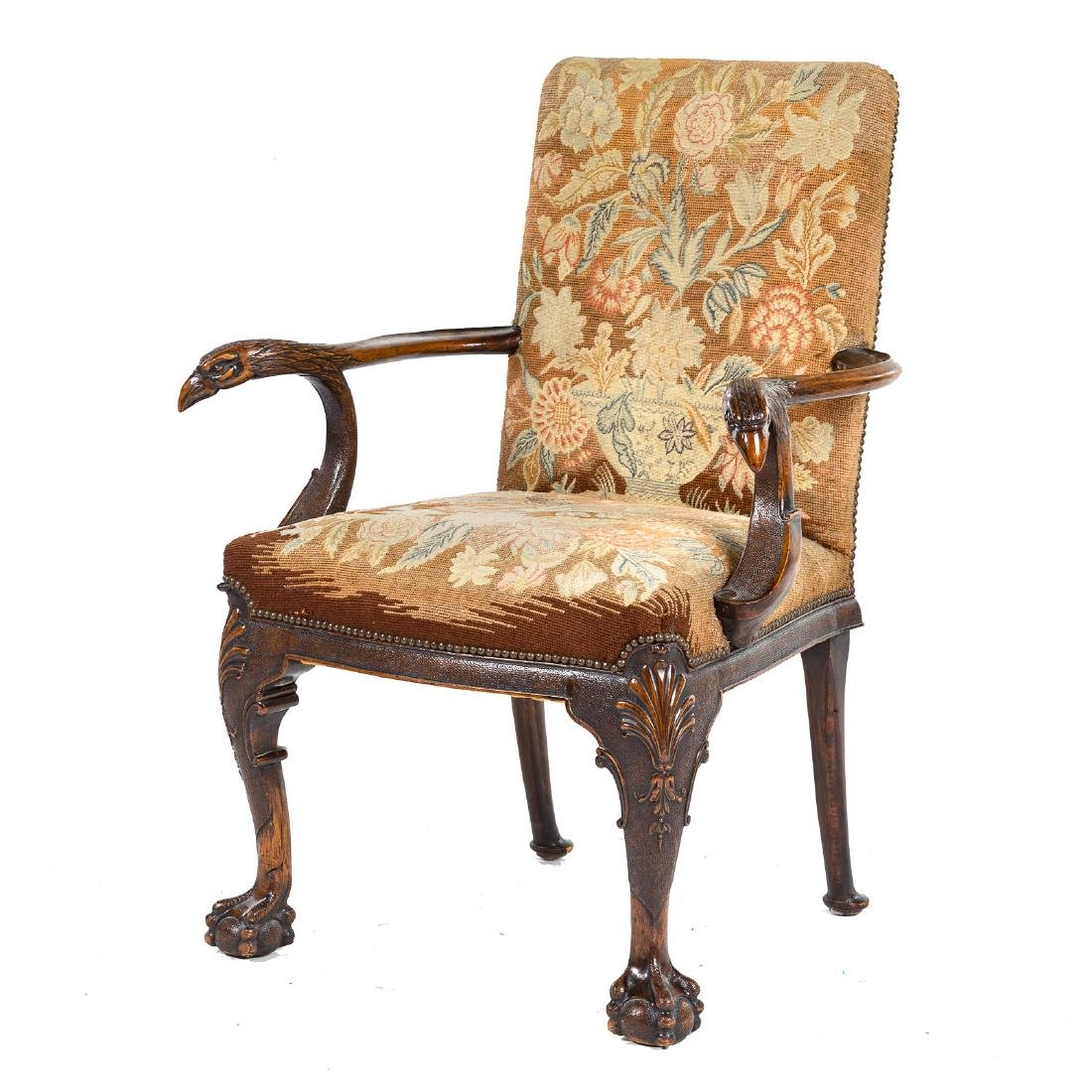 George II style walnut upholstered armchair