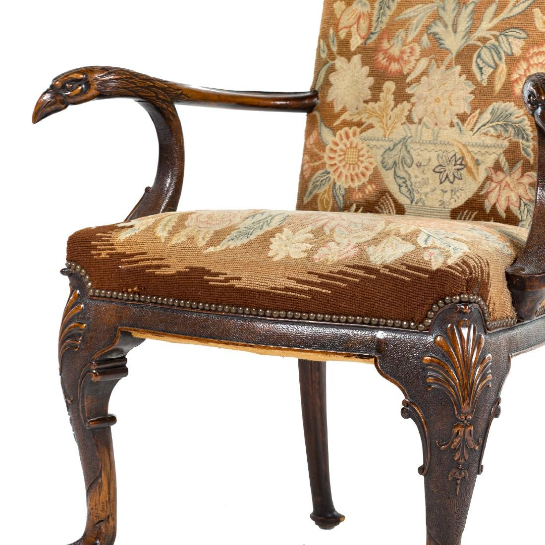 George II style walnut upholstered armchair - 2