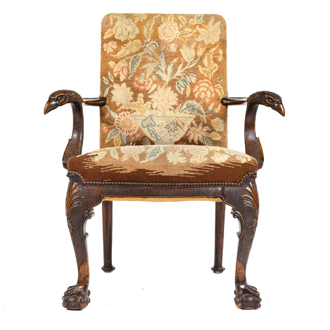 George II style walnut upholstered armchair - 3