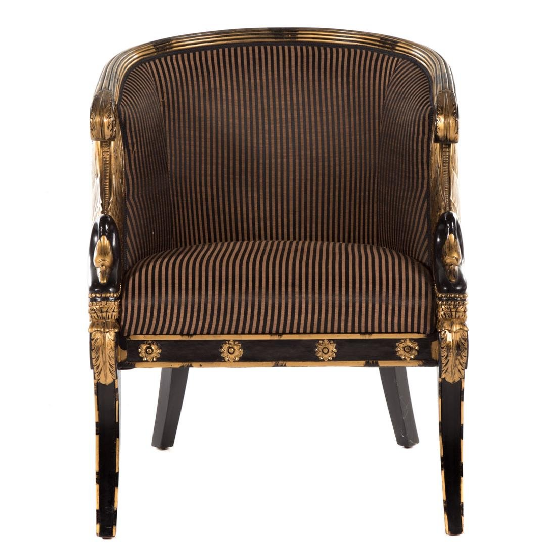 Empire style partial gilt upholstered bergere