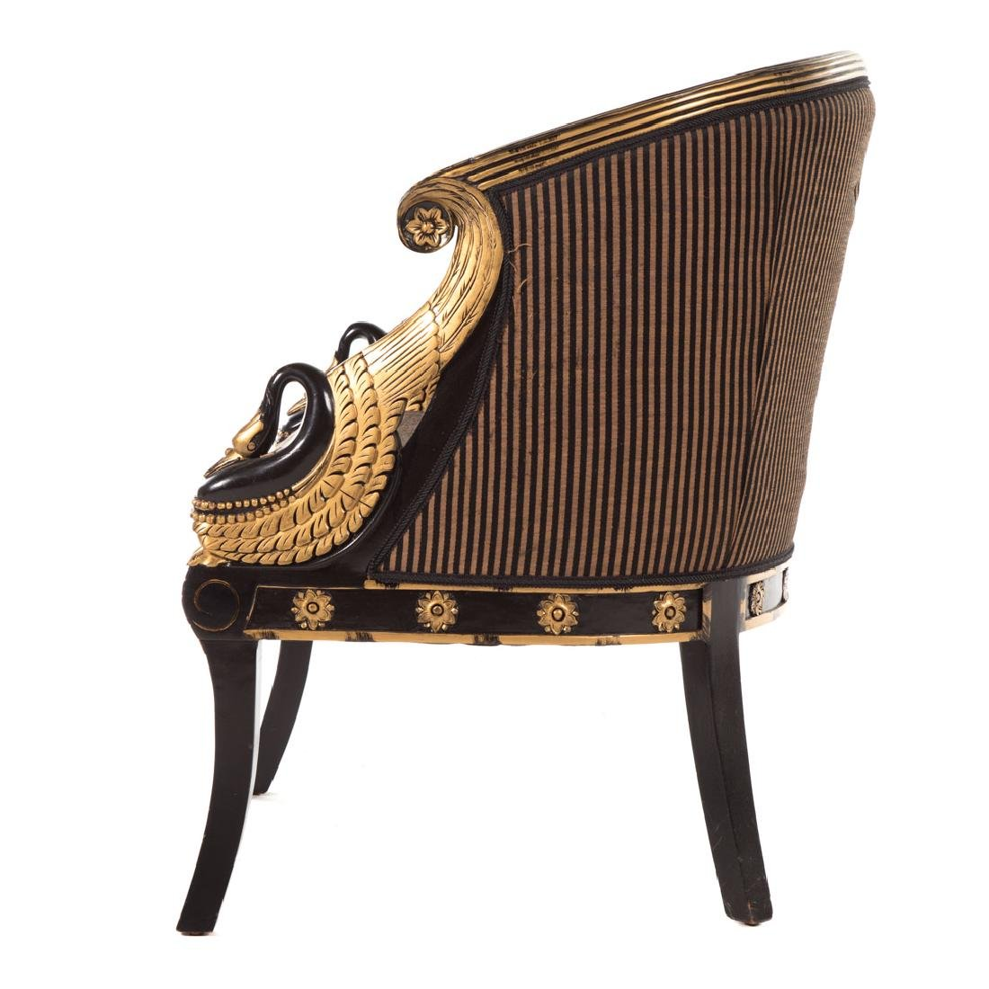 Empire style partial gilt upholstered bergere - 2