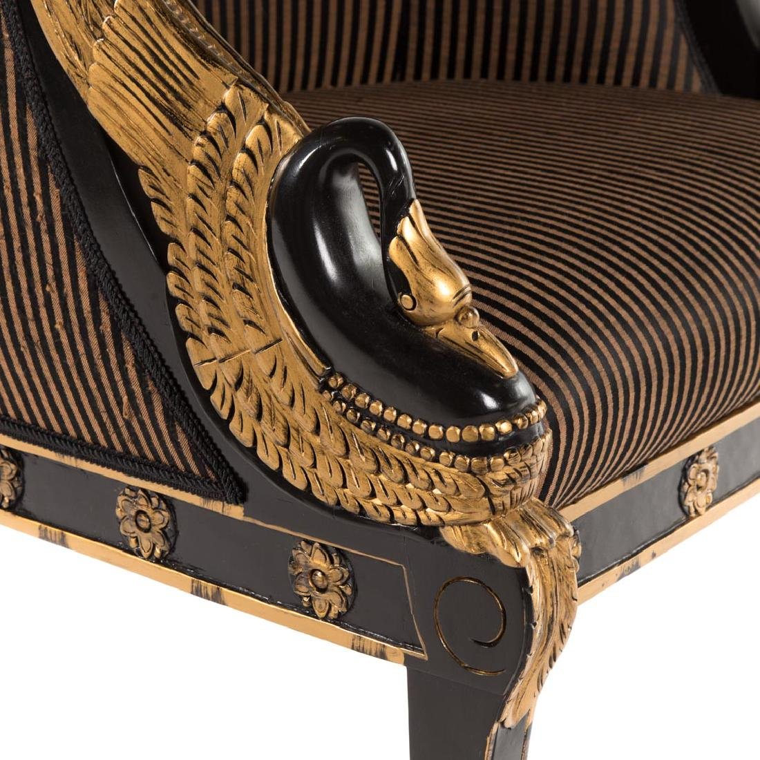 Empire style partial gilt upholstered bergere - 4