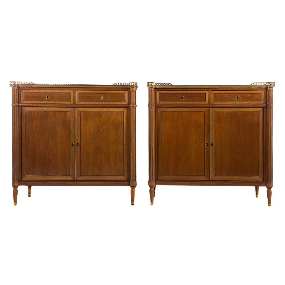 Pr Louis XVI style mahogany & marble top cabinets