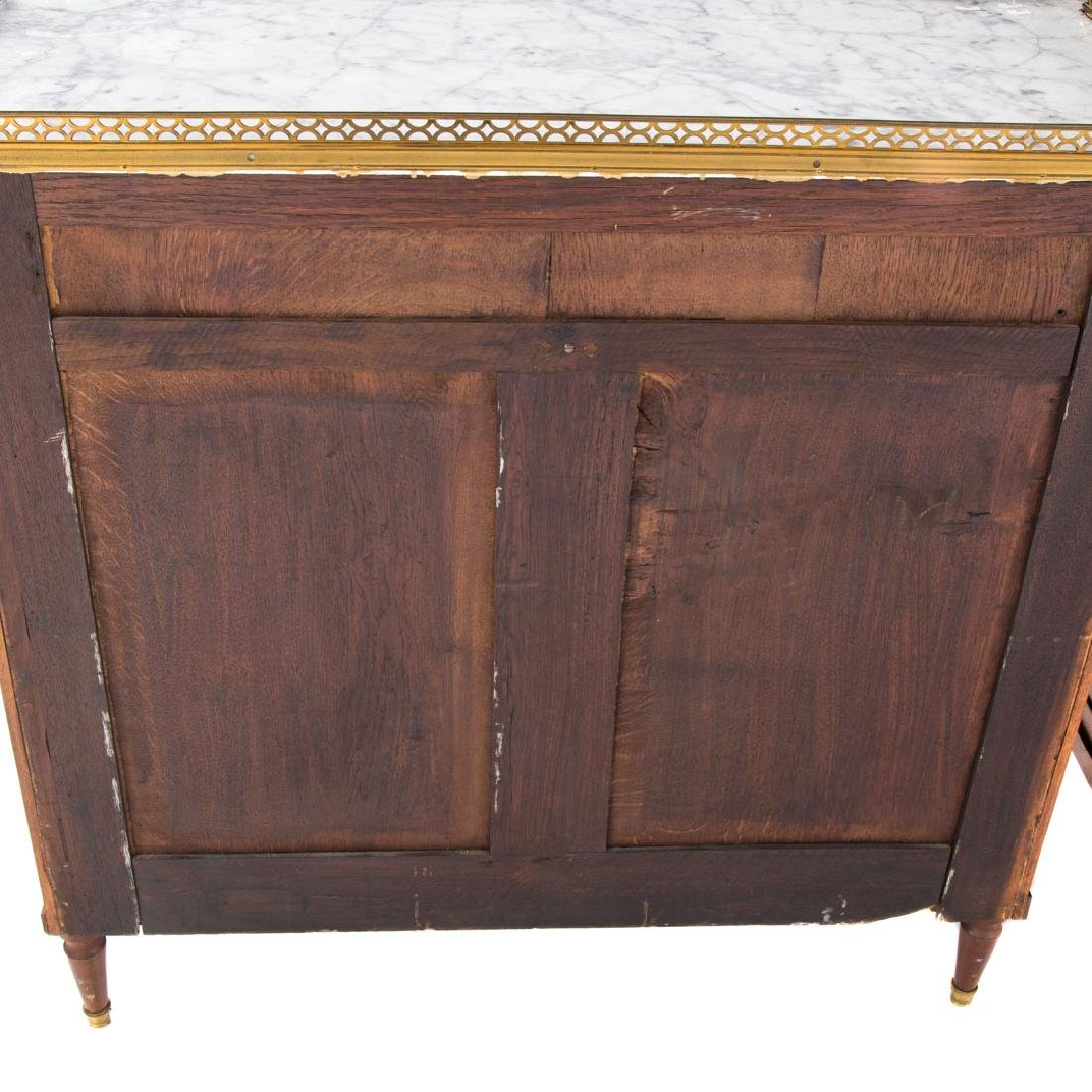 Pr Louis XVI style mahogany & marble top cabinets - 4