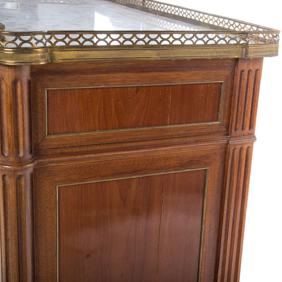 Pr Louis XVI style mahogany & marble top cabinets - 5