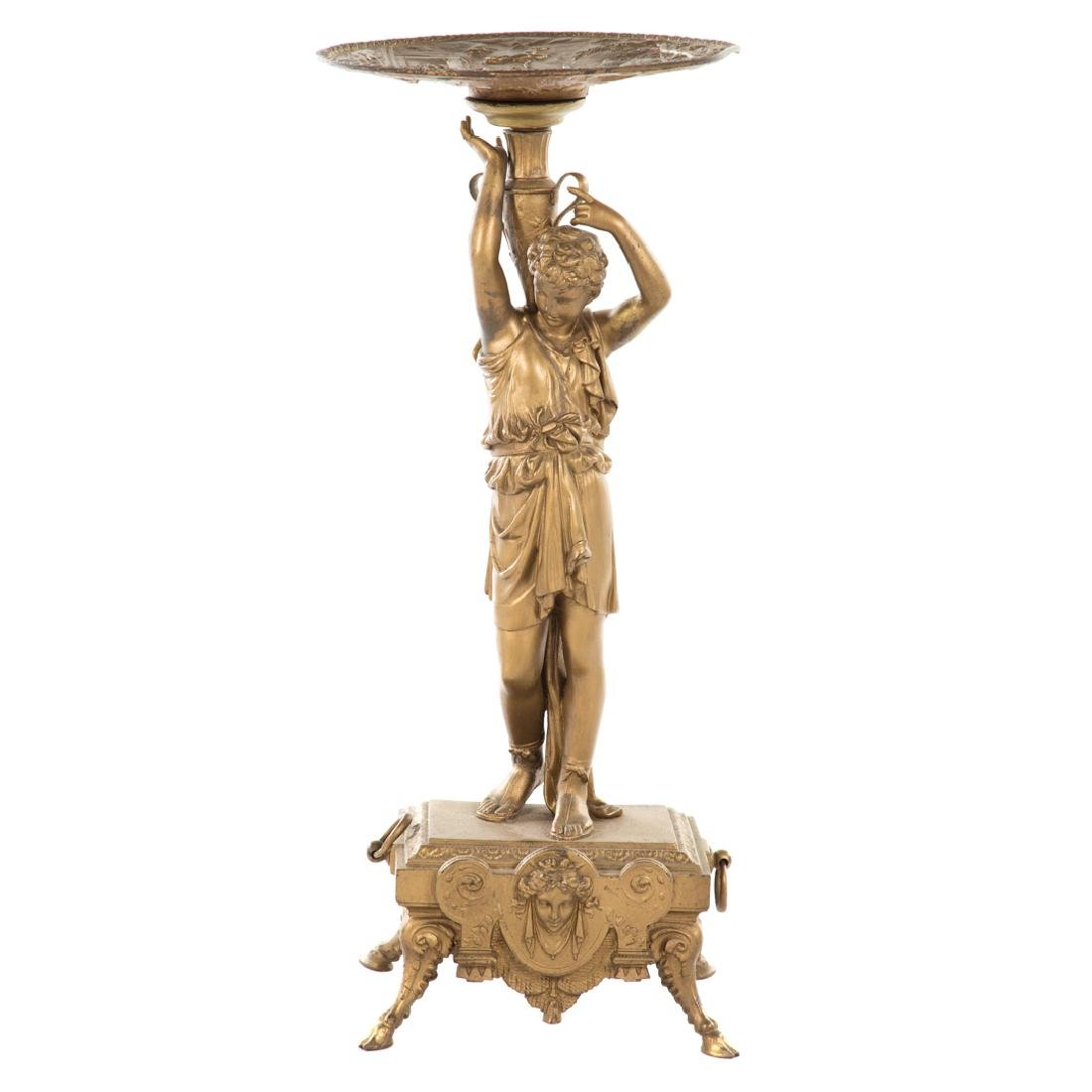 Victorian gilt metal figural pedestal table
