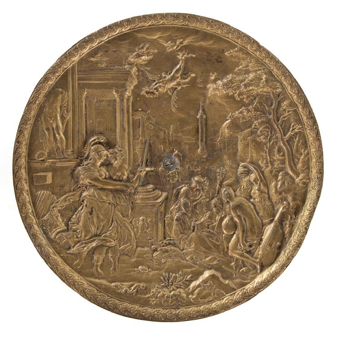 Victorian gilt metal figural pedestal table - 5