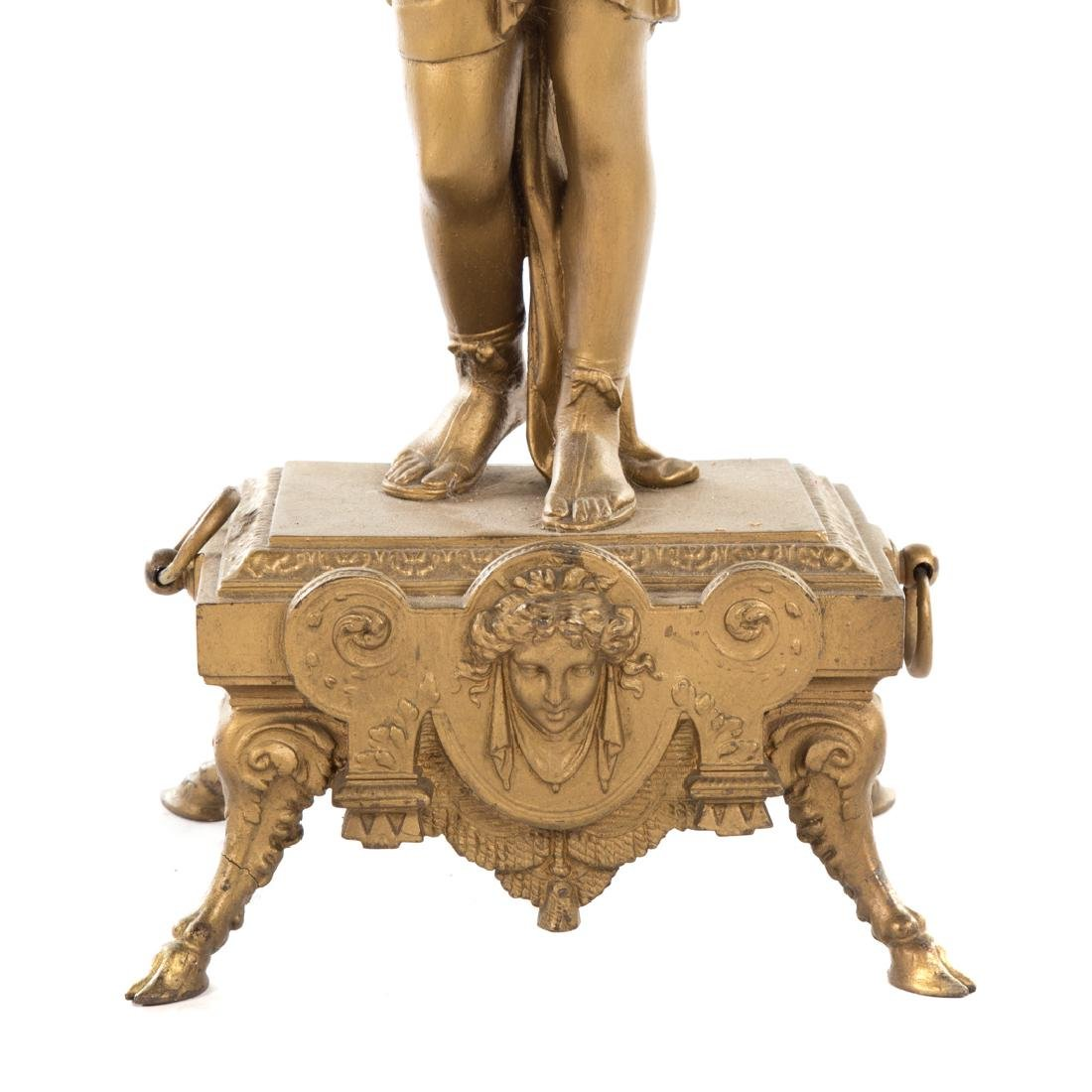 Victorian gilt metal figural pedestal table - 6
