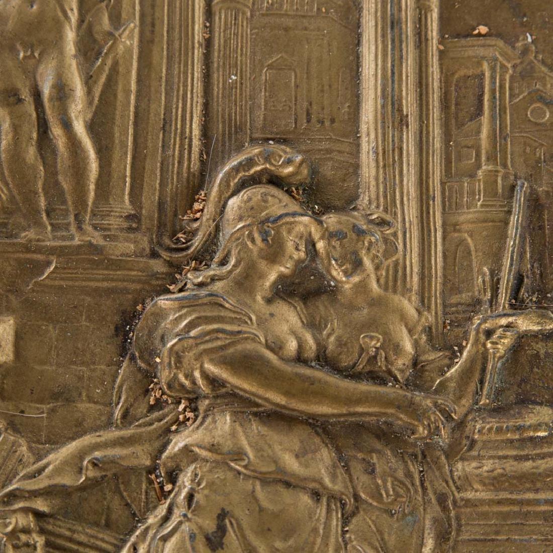 Victorian gilt metal figural pedestal table - 7