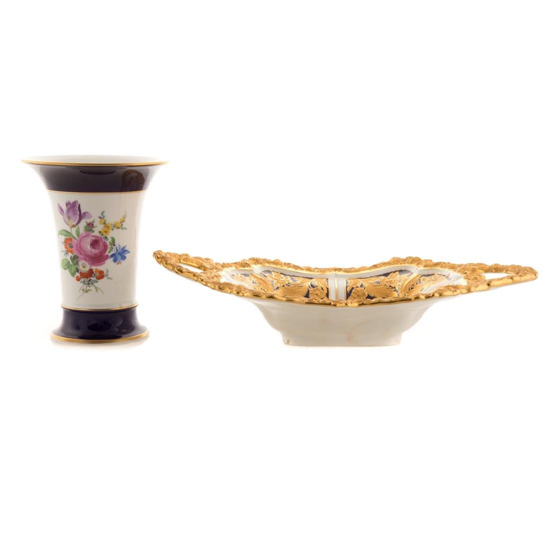 Meissen porcelain dish and beaker vase