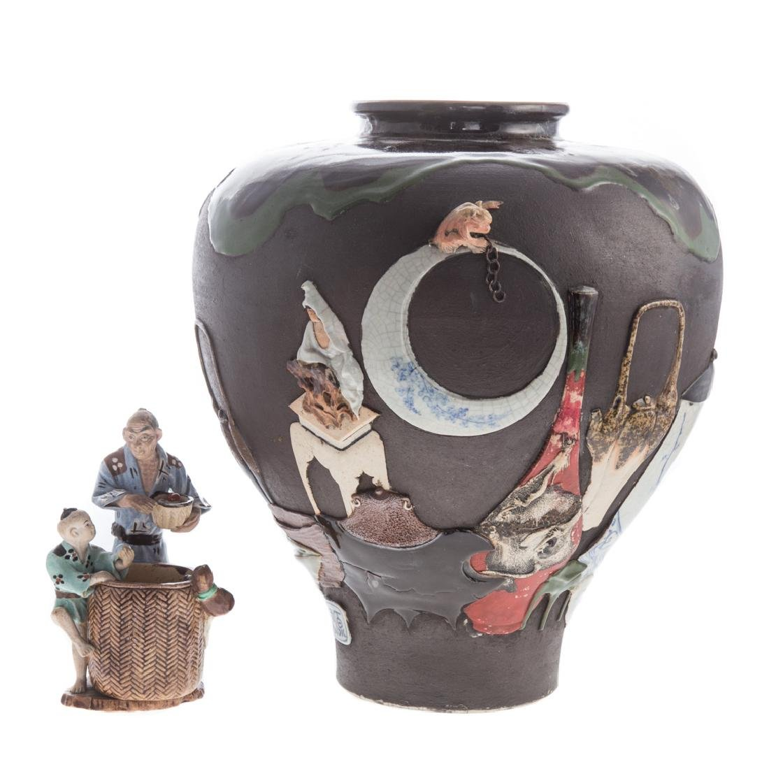 Japanese Sumida Gawa vase and figure group