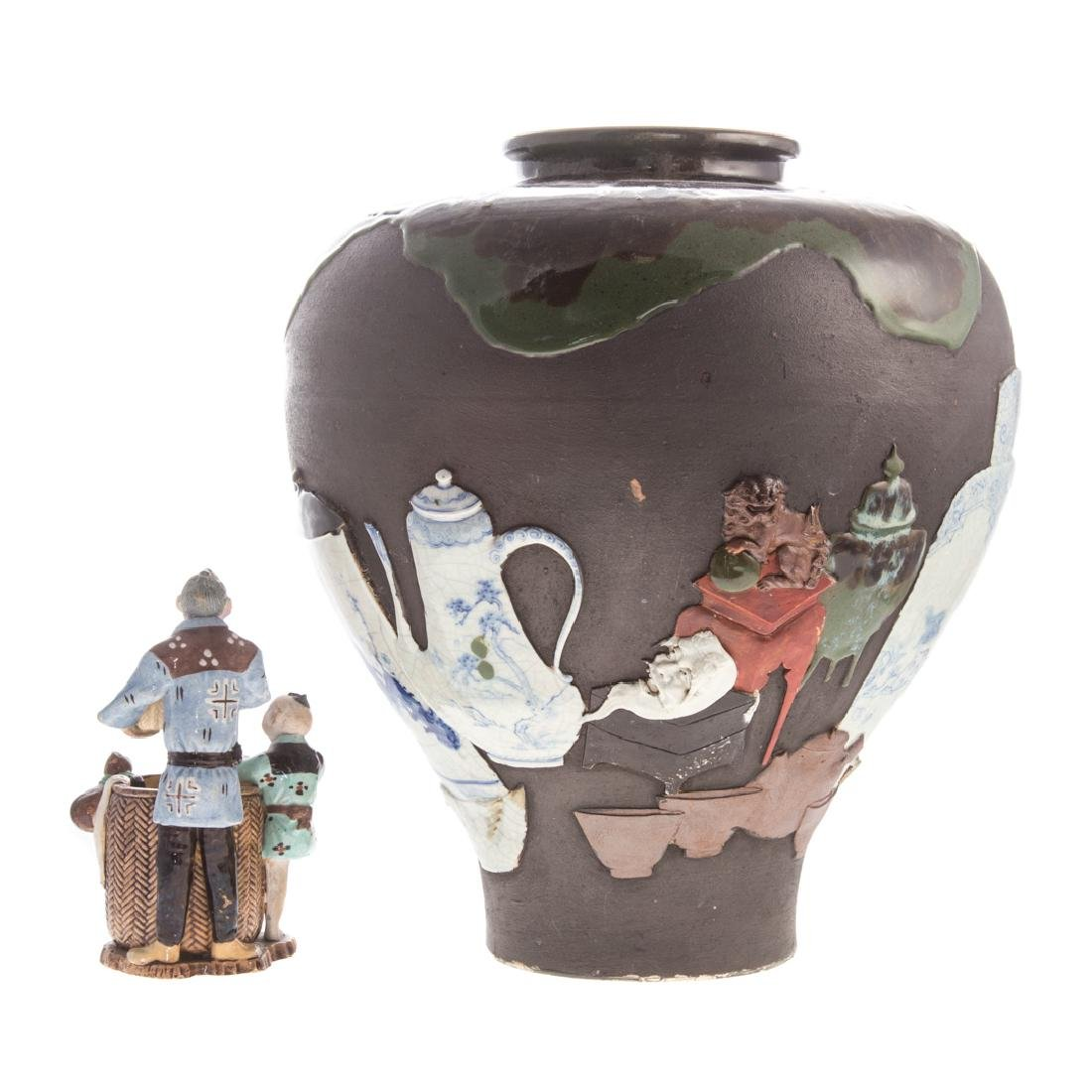 Japanese Sumida Gawa vase and figure group - 2