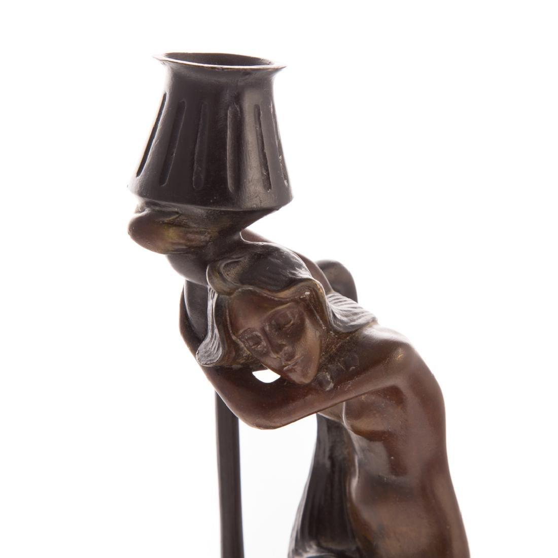 MMA Art Nouveau style bronze figural candleholder - 2