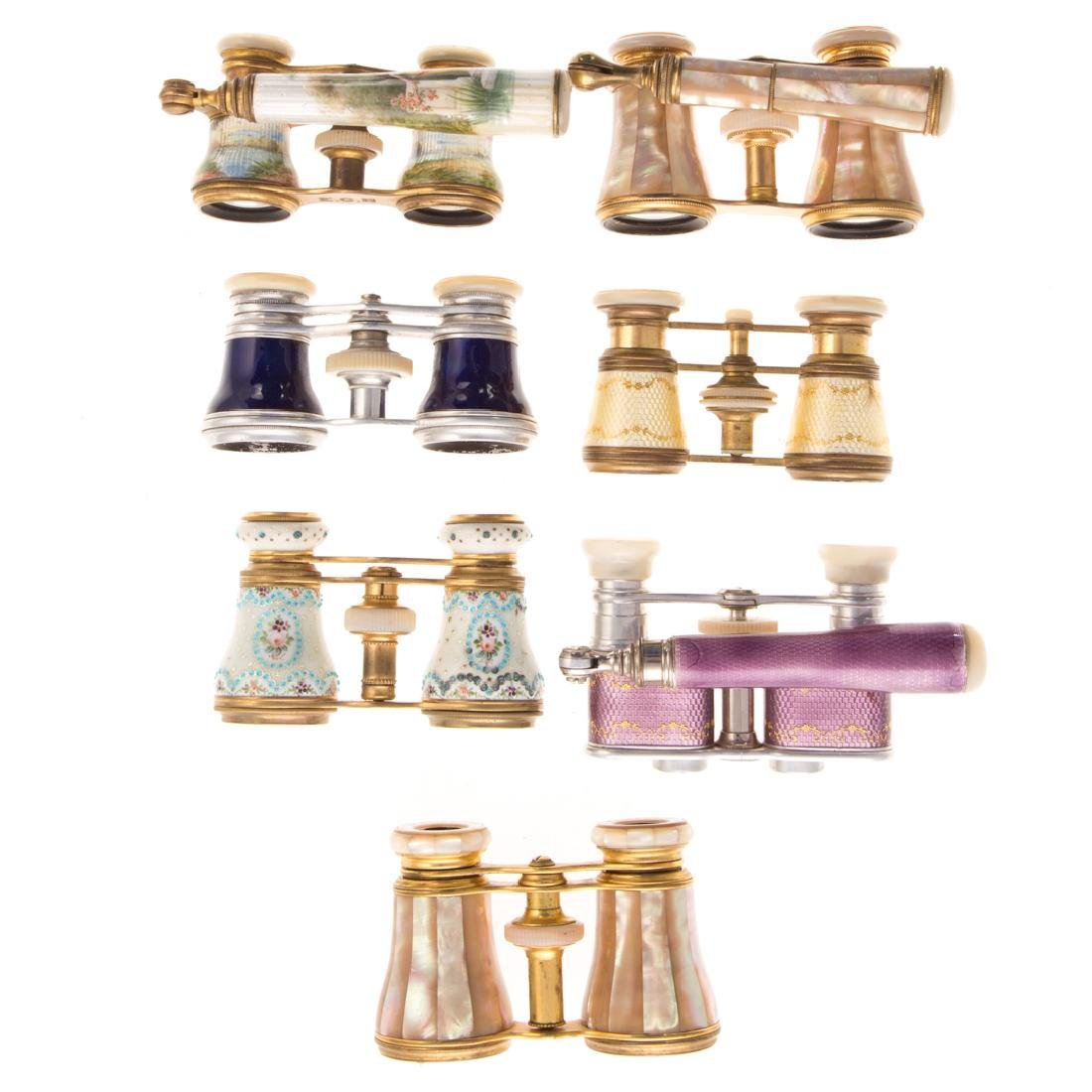 Eight sets of French opera glasses