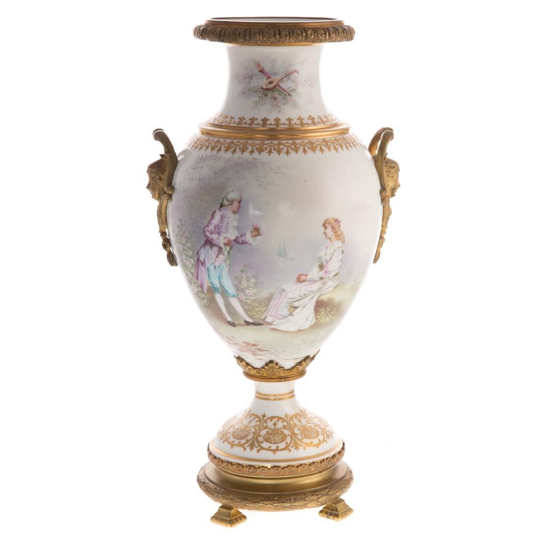 French Sevres style porcelain vase