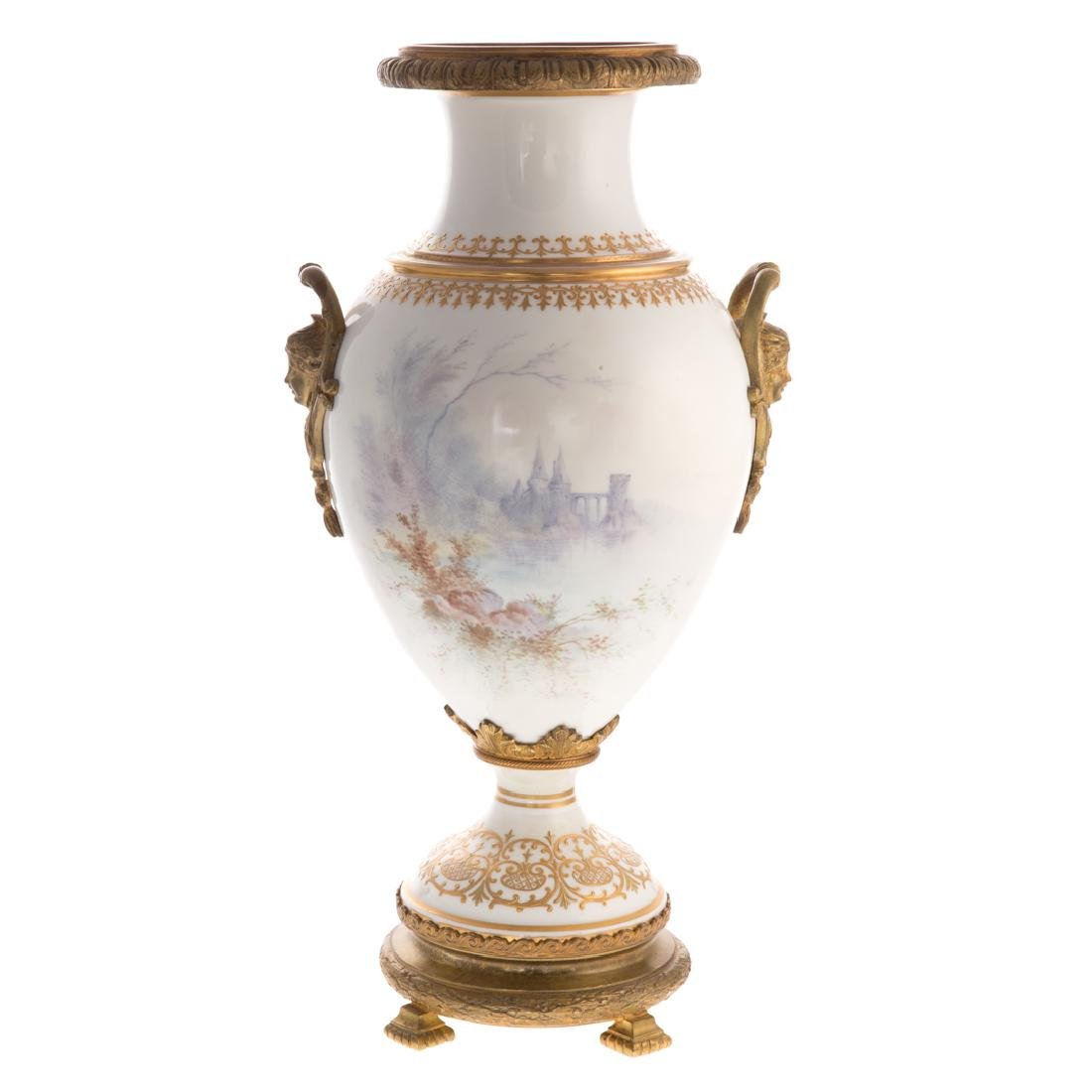 French Sevres style porcelain vase - 3