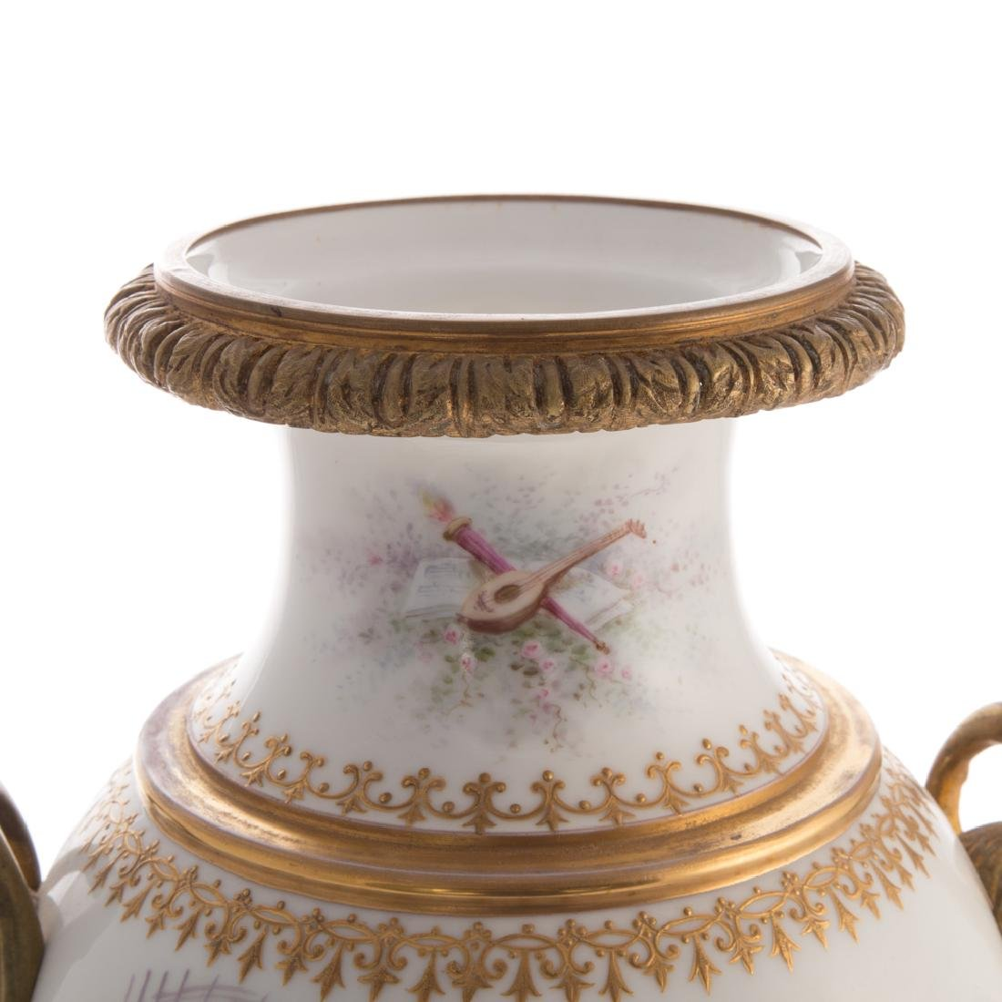 French Sevres style porcelain vase - 7