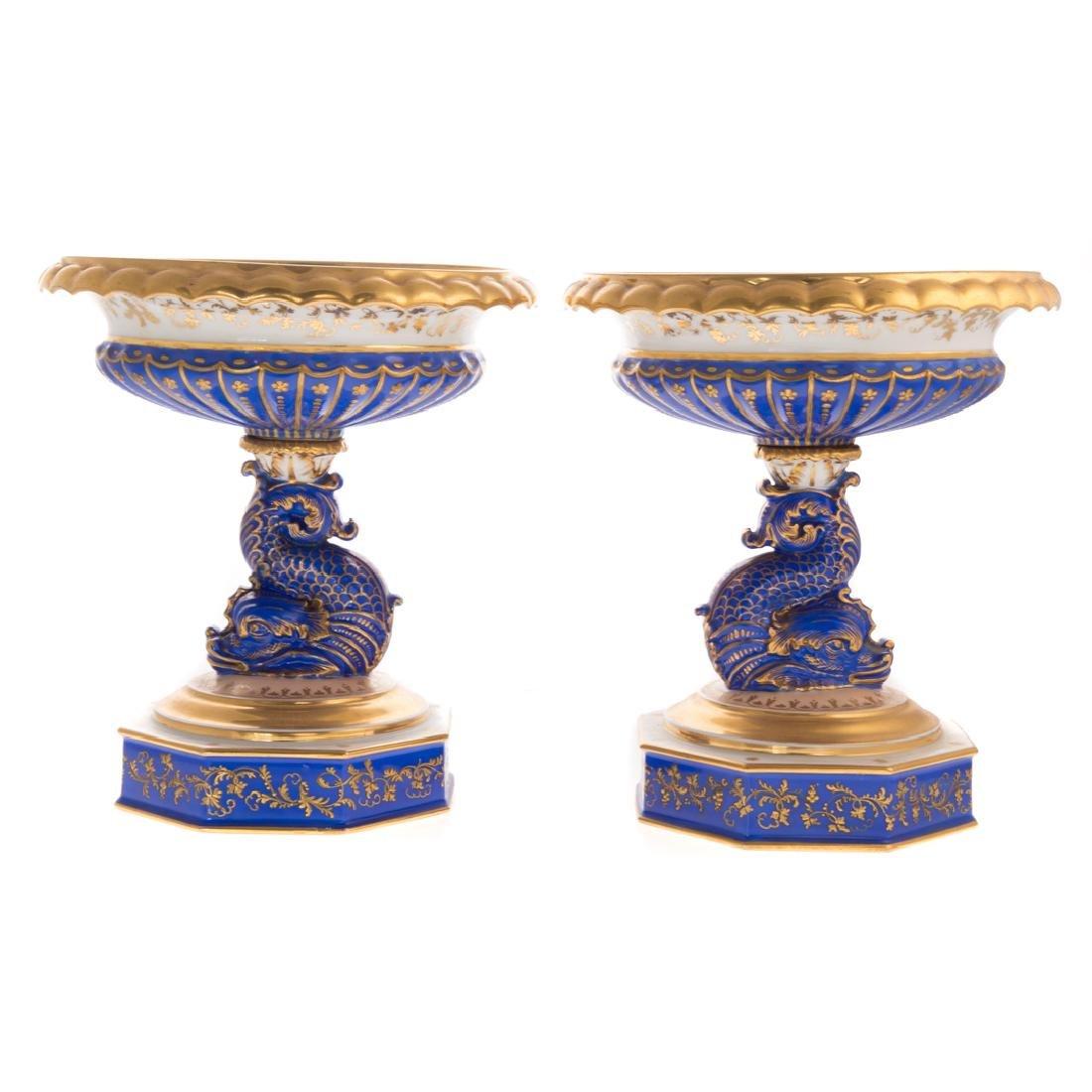 Pair Paris porcelain compotes