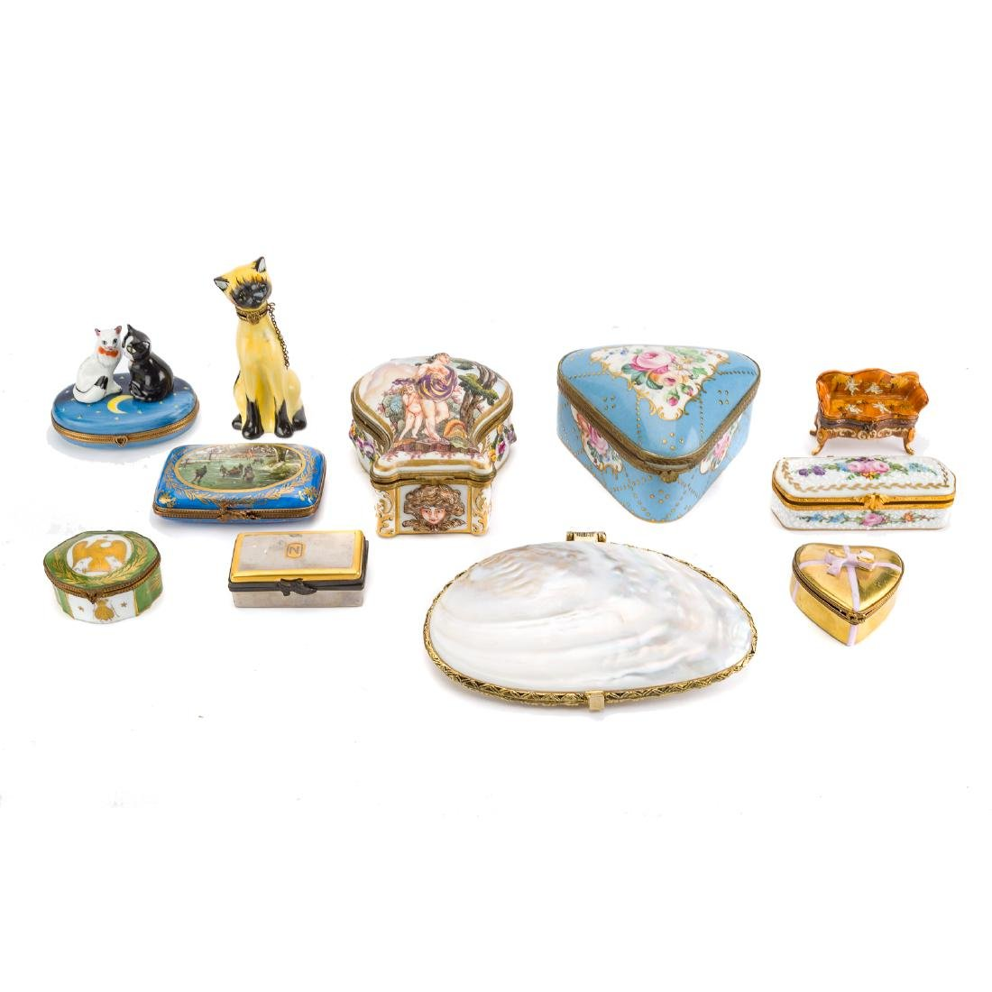 10 porcelain boxes and a shell box