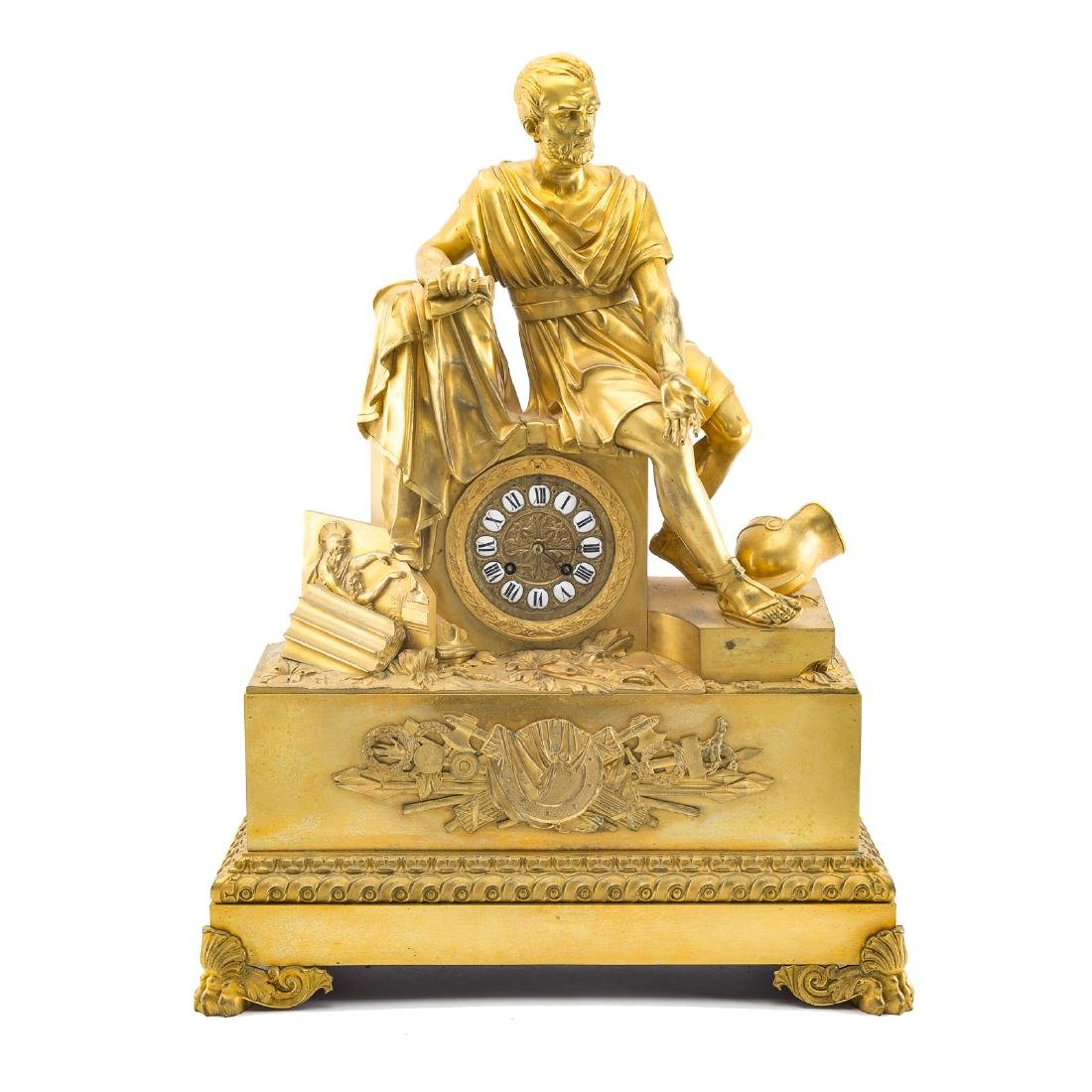 French Empire gilt-bronze figural mantel clock