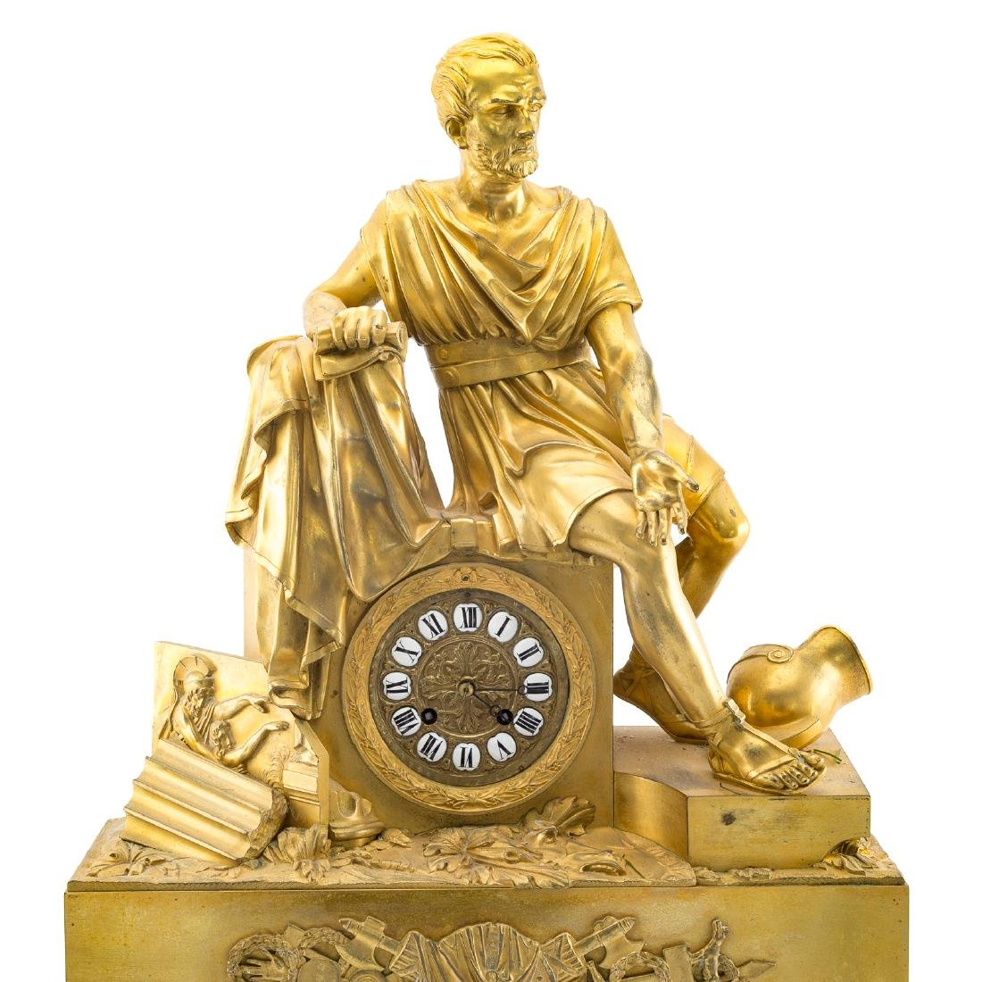 French Empire gilt-bronze figural mantel clock - 2
