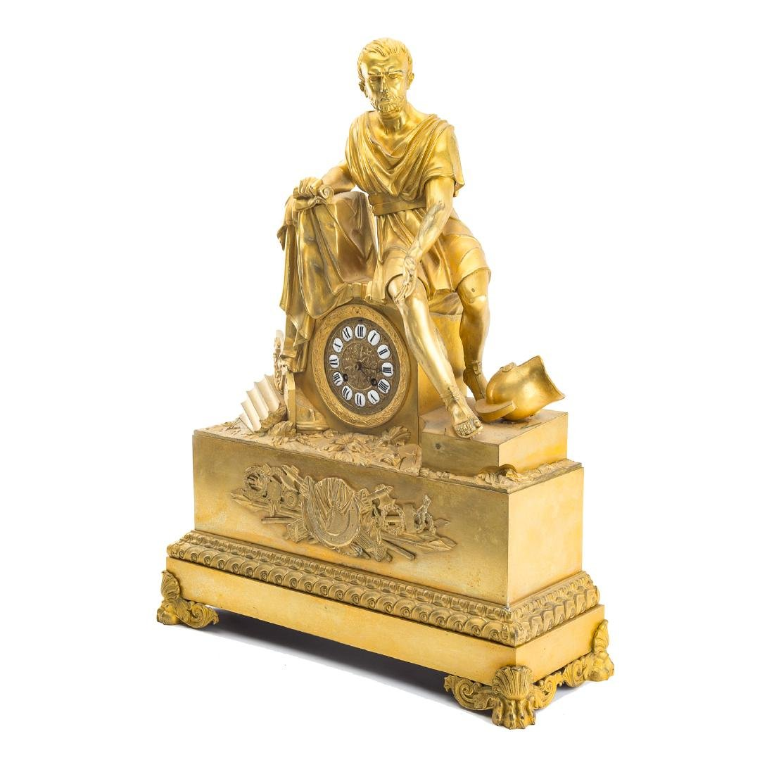 French Empire gilt-bronze figural mantel clock - 3