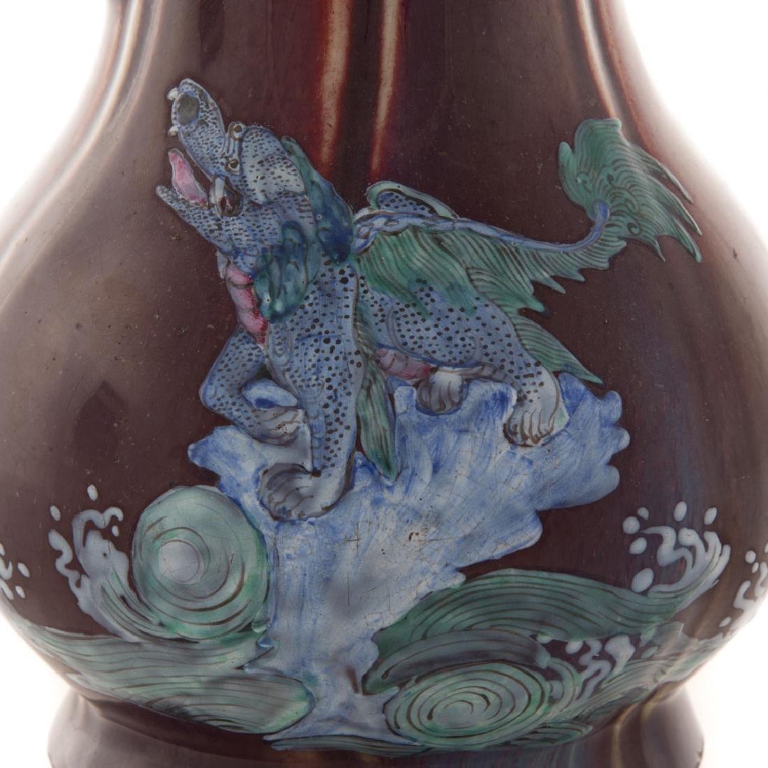 Three Chinese flambe porcelain vases - 4