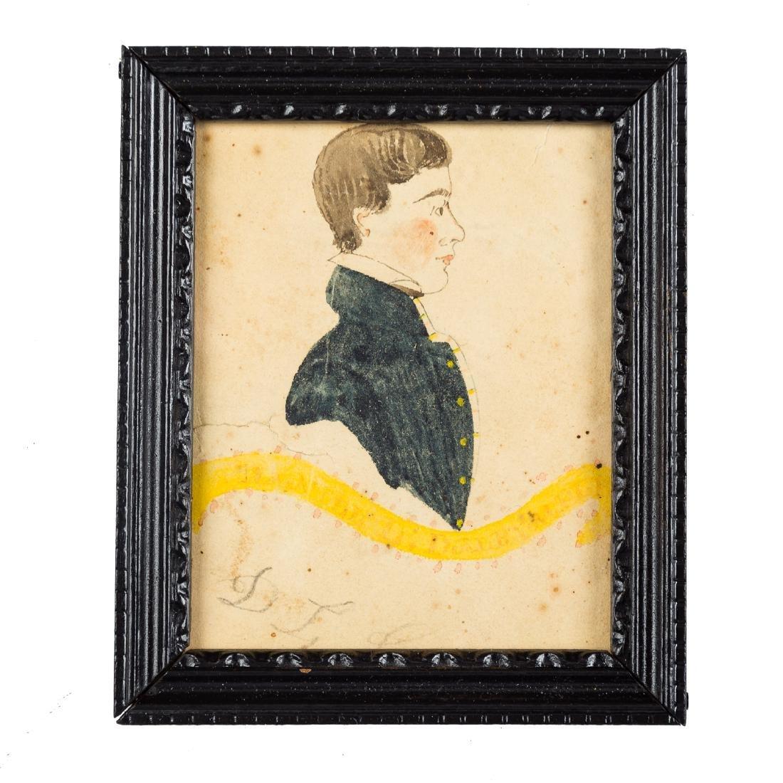American School 19th century portrait miniature