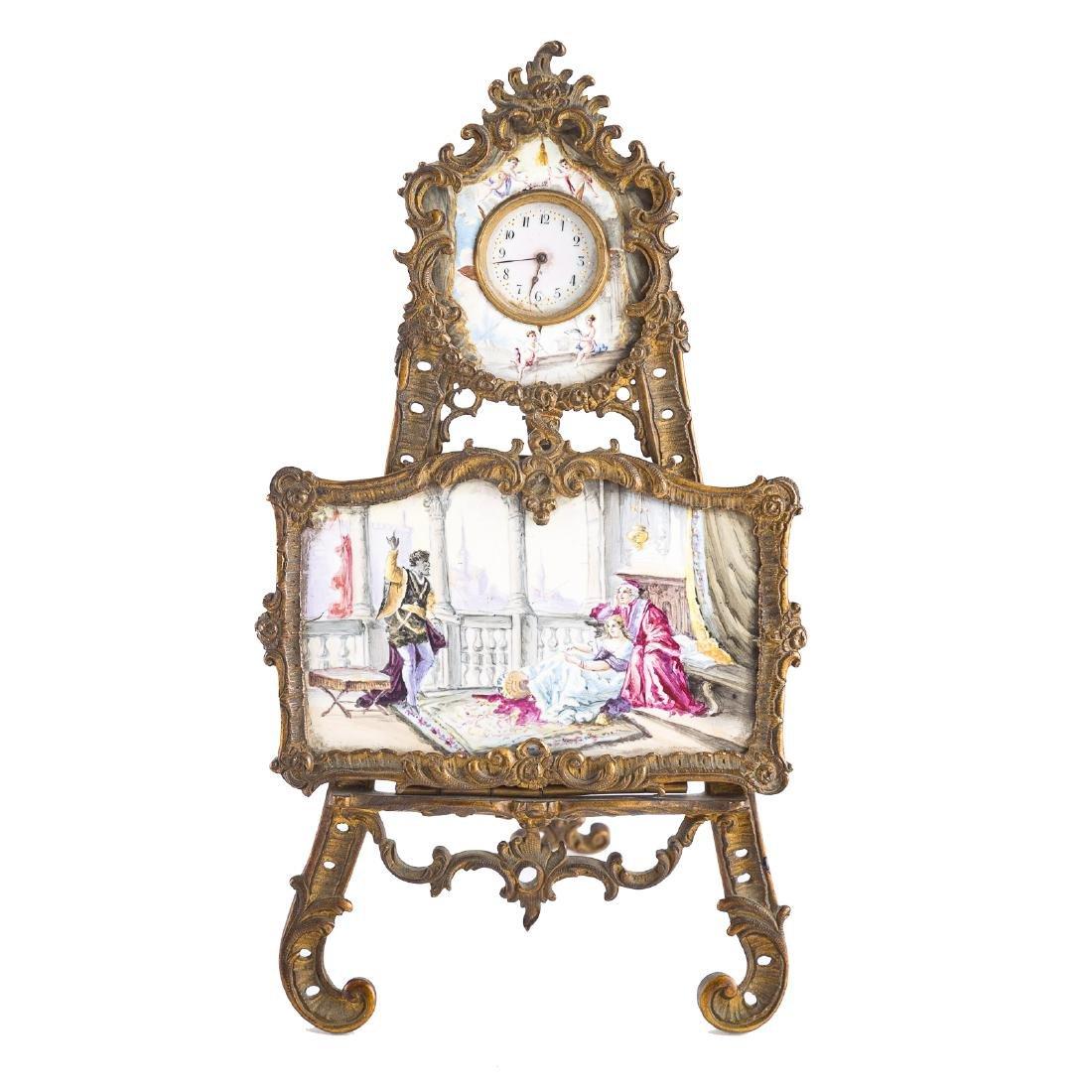 Rococo style gilt-metal desk clock