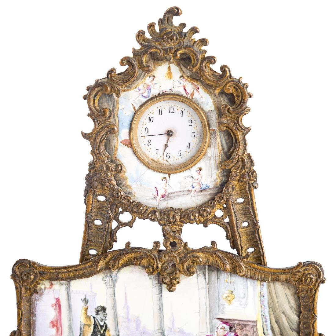 Rococo style gilt-metal desk clock - 2