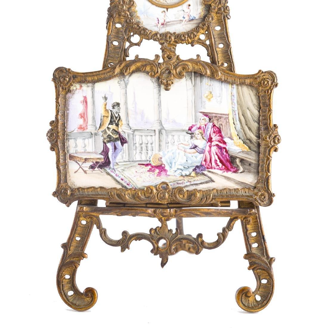 Rococo style gilt-metal desk clock - 3