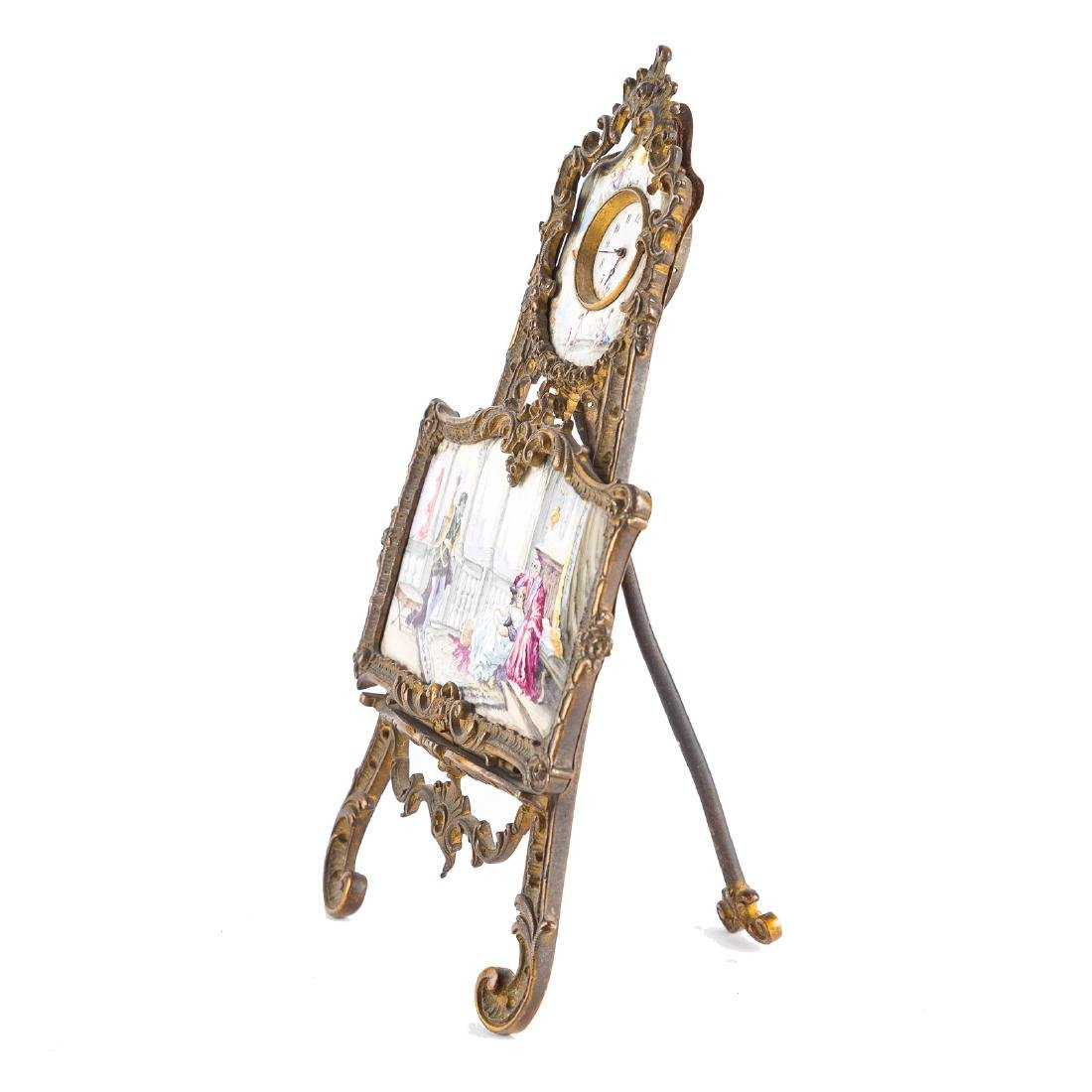 Rococo style gilt-metal desk clock - 4