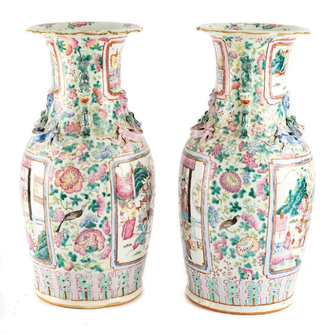 Pair Chinese Export Famille Rose vases - 4