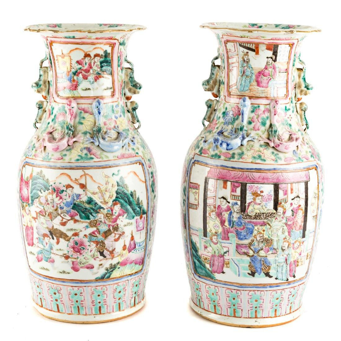 Pair Chinese Export Famille Rose vases - 5