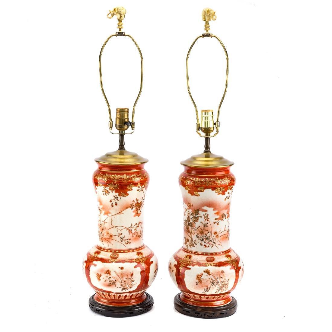 Pair Japanese Kutani earthenware vase lamps