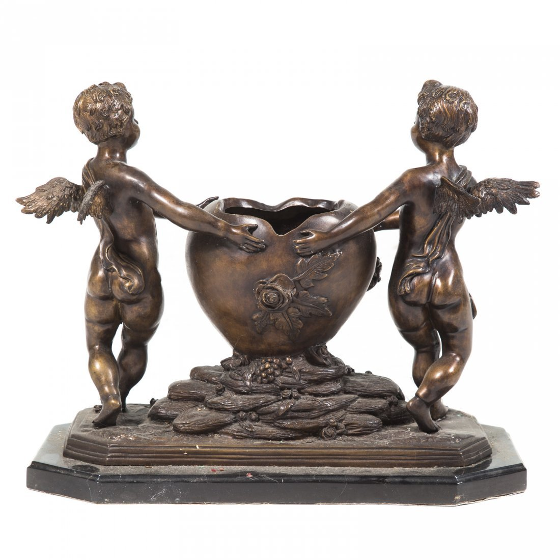 Louis XVI style bronze figural planter - 4