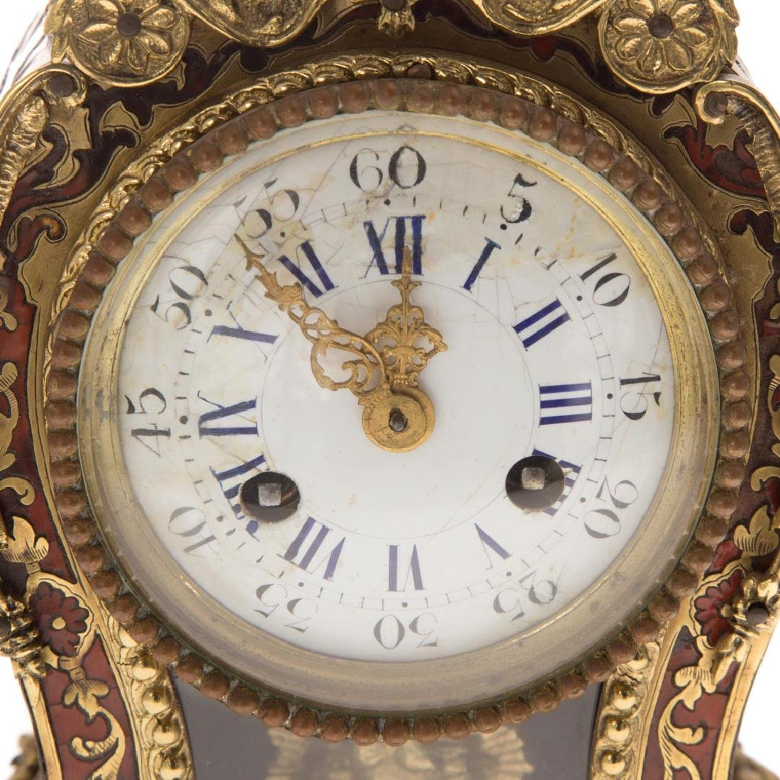 Louis XVI style Boulle marquetry desk clock - 4
