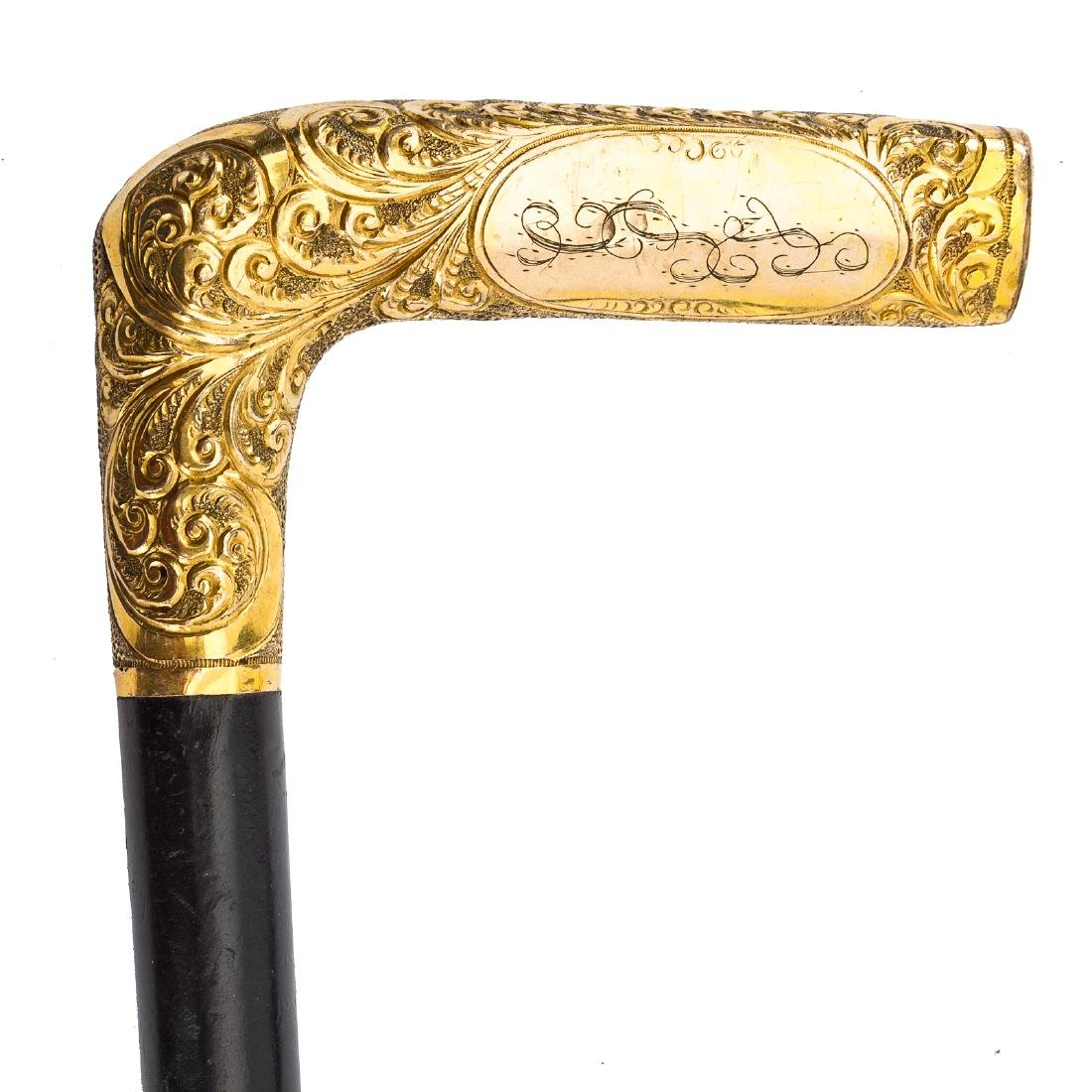 Edwardian 14K gold and agate umbrella handle - 2