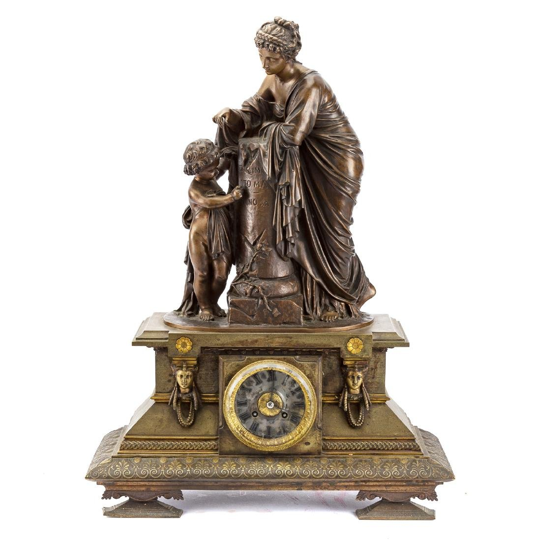 French bronze figural mantel clock