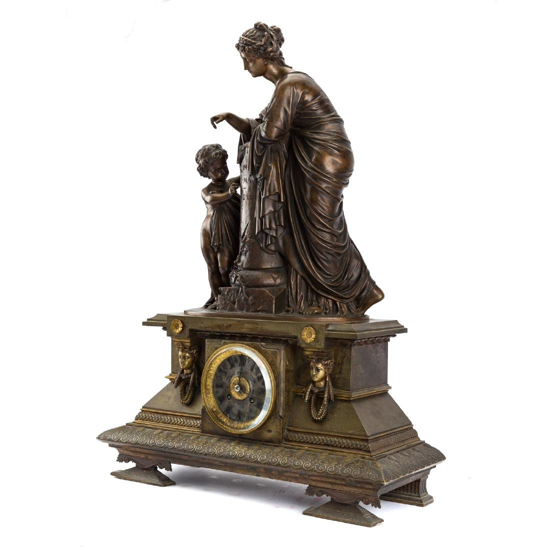 French bronze figural mantel clock - 4