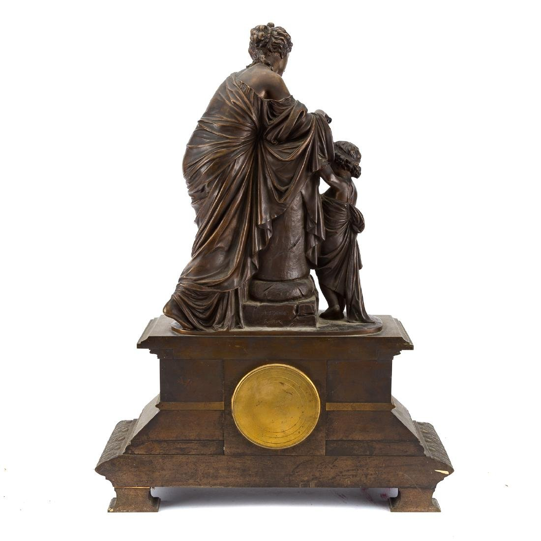 French bronze figural mantel clock - 5
